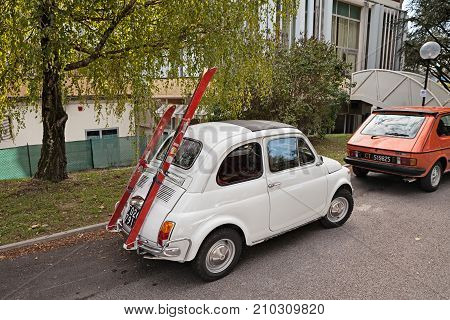 MELDOLA, FC, ITALY - OCTOBER 10: vintage Fiat 500 with ski-rack in classic car rally