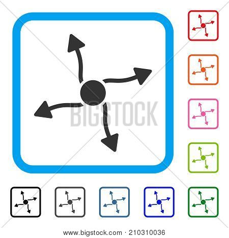 Curve Arrows icon. Flat gray pictogram symbol inside a light blue rounded rectangular frame. Black, gray, green, blue, red, orange color versions of Curve Arrows vector.