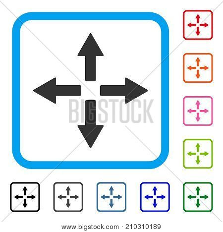 Expand Arrows icon. Flat grey pictogram symbol inside a light blue rounded squared frame. Black, gray, green, blue, red, orange color additional versions of Expand Arrows vector.