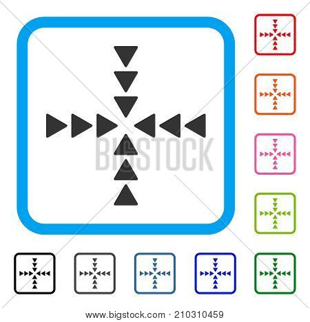 Inside Direction icon. Flat grey pictogram symbol in a light blue rounded rectangular frame. Black, gray, green, blue, red, orange color additional versions of Inside Direction vector.