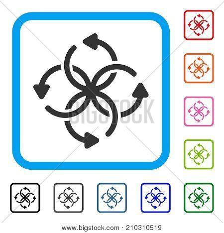Knot Rotation icon. Flat gray iconic symbol inside a light blue rounded frame. Black, gray, green, blue, red, orange color variants of Knot Rotation vector. Designed for web and app UI.