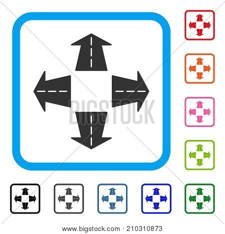 Road Directions icon. Flat gray iconic symbol in a light blue rounded rectangle. Black, gray, green, blue, red, orange color variants of Road Directions vector.