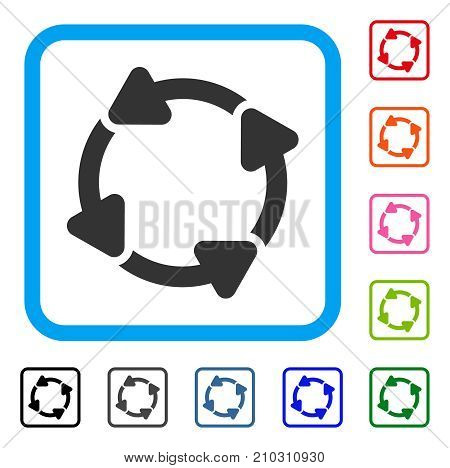 Rotate CW icon. Flat gray pictogram symbol inside a light blue rounded rectangular frame. Black, gray, green, blue, red, orange color variants of Rotate CW vector.