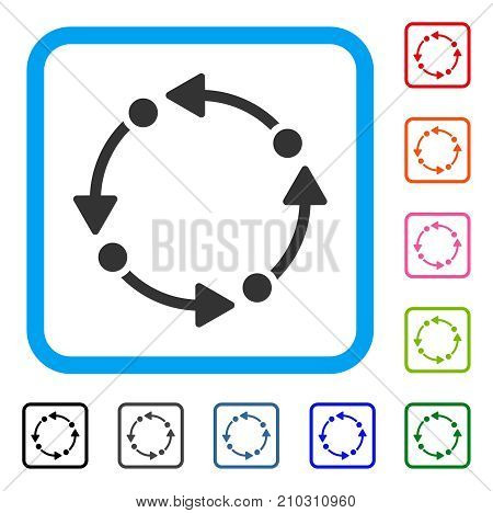 Rotate icon. Flat gray iconic symbol in a light blue rounded rectangular frame. Black, gray, green, blue, red, orange color versions of Rotate vector. Designed for web and app user interface.