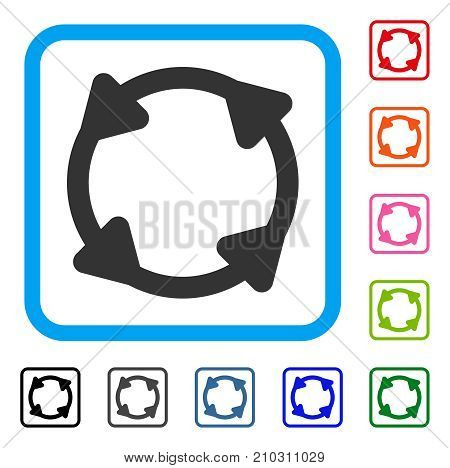 Rotate icon. Flat grey iconic symbol in a light blue rounded rectangular frame. Black, gray, green, blue, red, orange color additional versions of Rotate vector. Designed for web and app interfaces.