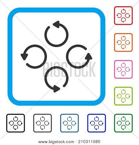 Rotation icon. Flat grey pictogram symbol in a light blue rounded squared frame. Black, gray, green, blue, red, orange color versions of Rotation vector.