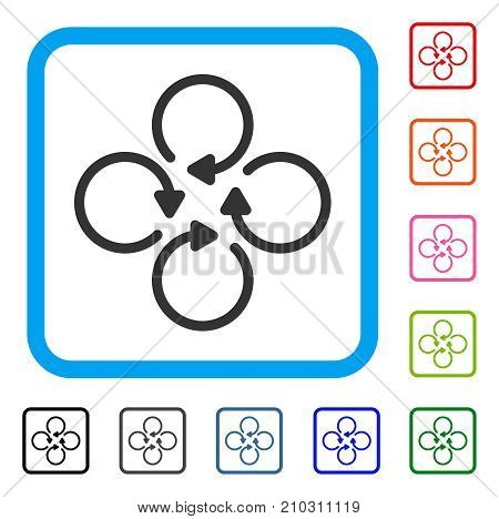 Rotation icon. Flat grey pictogram symbol inside a light blue rounded frame. Black, gray, green, blue, red, orange color variants of Rotation vector. Designed for web and application interfaces.