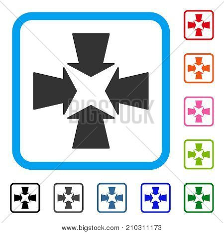 Shrink Arrows icon. Flat gray iconic symbol inside a light blue rounded rectangle. Black, gray, green, blue, red, orange color additional versions of Shrink Arrows vector.