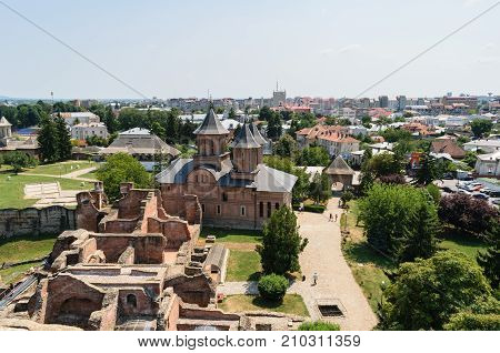 Targoviste Romania - August 15 2017: Aerial view of the Princely Court showing St. Friday Church in Targoviste Dambovita Romania.