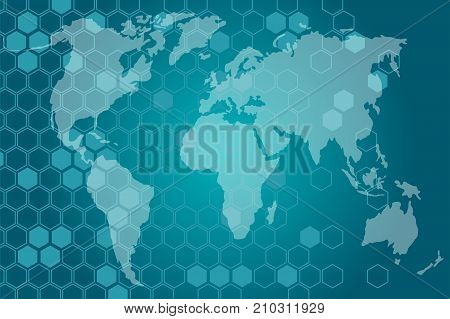 Vector illustration on business theme with block chain elements. The network envelops the planet.