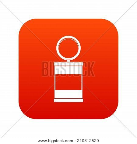 Trash can with pedal icon digital red for any design isolated on white vector illustration