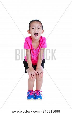 Asian Child In Sportswear Open The Mouth. Isolated On White Background.