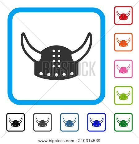 Horned Helmet icon. Flat grey pictogram symbol in a light blue rounded squared frame. Black, gray, green, blue, red, orange color versions of Horned Helmet vector.