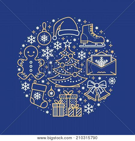 Christmas, new year banner illustration. Vector line icon of winter holidays christmas tree, gifts, snowflakes, skates, letter to santa, bells gingerbread. Celebration party blue gold circle template.