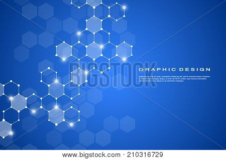 Abstract hexagonal molecule background, genetic and chemical compounds system. Geometric graphics and connected lines with dots. Scientific and technological concept, vector illustration.