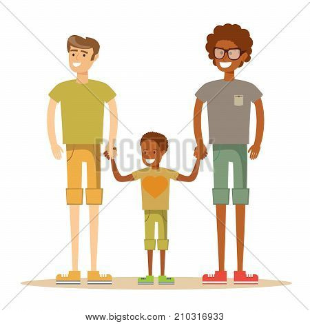 Happy mixed-race gay family with son. Stock flat vector illustration.