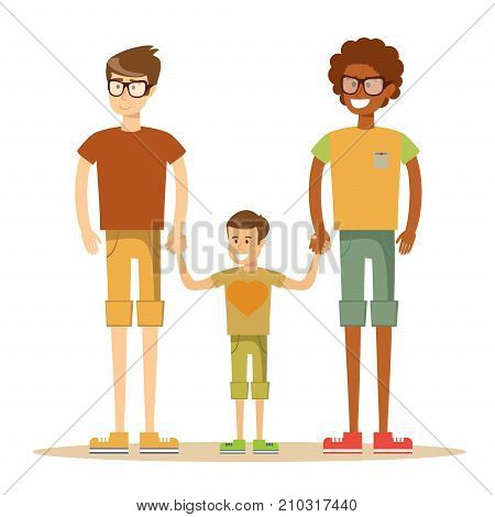 Happy mixed-race gay couple with son. Stock flat vector illustration.