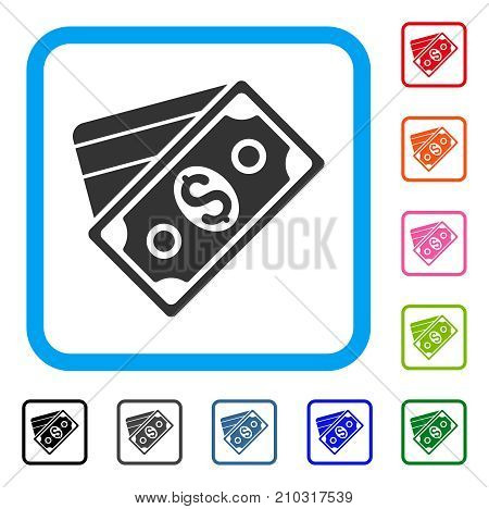 Money icon. Flat gray pictogram symbol inside a light blue rounded squared frame. Black, gray, green, blue, red, orange color versions of Money vector. Designed for web and application interfaces.