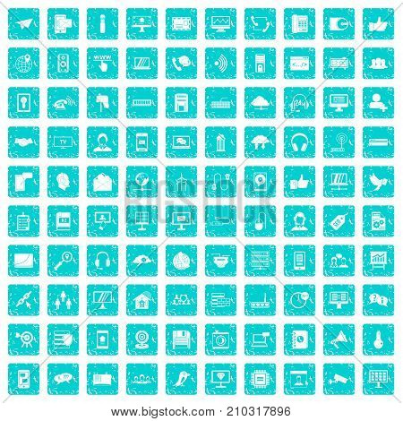 100 communication icons set in grunge style blue color isolated on white background vector illustration