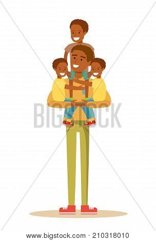 Happy Black father With 3 Children. Stock flat vector illustration.