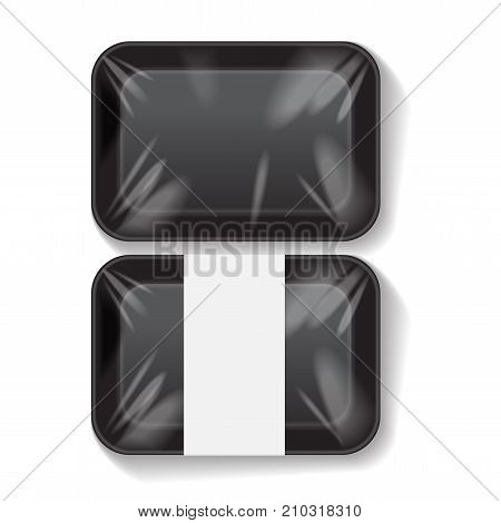 Set of Black Rectangle Blank Styrofoam Plastic Food Tray Container. Vector Mock Up Template for your design