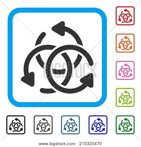 Knot Rotation icon. Flat grey pictogram symbol inside a light blue rounded squared frame. Black, gray, green, blue, red, orange color variants of Knot Rotation vector.