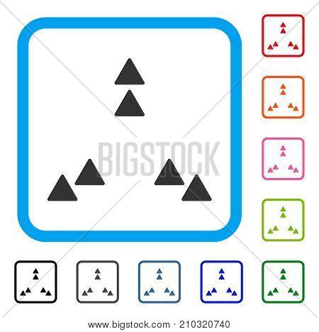 Move Out icon. Flat gray pictogram symbol in a light blue rounded rectangular frame. Black, gray, green, blue, red, orange color versions of Move Out vector. Designed for web and software interfaces.