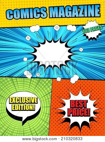Bright comics magazine cover template with different inscriptions, white speech bubbles, rays, round, sound, halftone and radial effects in pop art style. Vector illustration