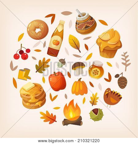 Colorful autumn elements and food arranged in circle. Vector illustration