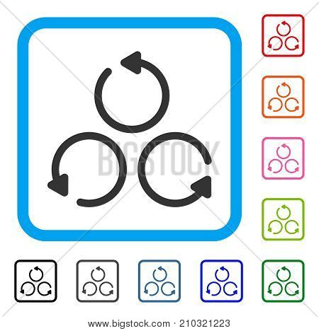 Rotation icon. Flat gray iconic symbol in a light blue rounded rectangle. Black, gray, green, blue, red, orange color variants of Rotation vector. Designed for web and application UI.