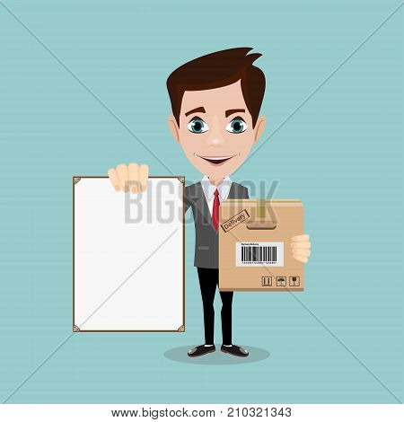 Delivery men with box and white board. Stock Vector illustration.