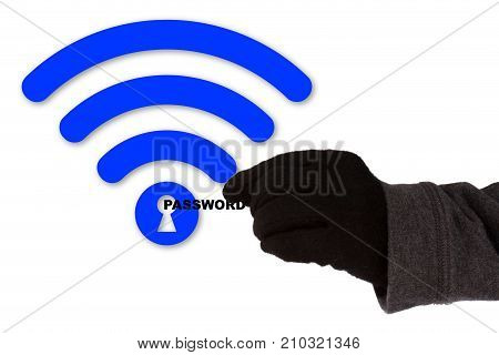 Hand with glove taking the word password of a blue wifi symbol with a keyhole WPA2 backdoor krack cybersecurity concept