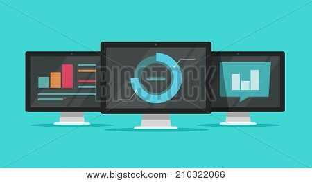 Big data analyze on computers vector illustration, flat cartoon monitors analytics information research, charts, diagrams and graphs, concept of statistics report, computer cloud technology