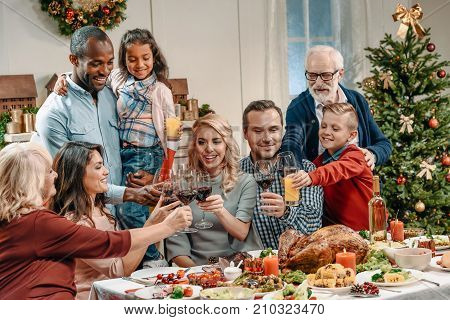 Large Family Celebrating Christmas