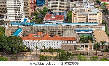 NAIROBI, KENYA - OCTOBER 20, 2014 : Nairobi City Council viewed from the Kenyatta International Conference Centre. Nairobi City Council is the local authority governing the city of Nairobi.