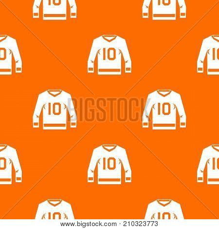 Hockey jersey pattern repeat seamless in orange color for any design. Vector geometric illustration