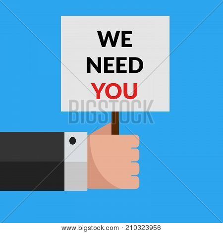 Hand Holds Plate We Need You. Job Announcement Design Vector Eps 10