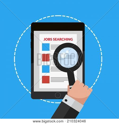 Illustration Job Searching Hand Holding Tablet And Loupe Vector Eps 10