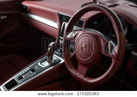 BANGKOK, THAILAND - NOVEMBER 9, 2013: Interior of Porsche 911 2012 model