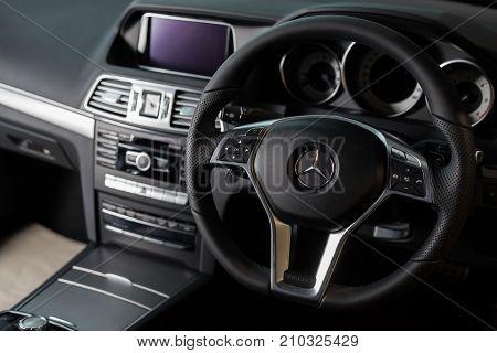 BANGKOK, THAILAND - NOVEMBER 9, 2013: Interior of Mercedes Benz W212 E-class coupe 2013 model