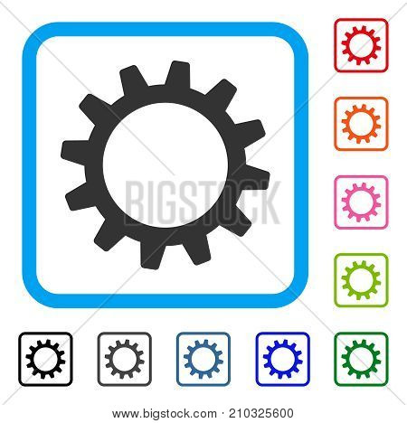 Cogwheel icon. Flat grey iconic symbol inside a light blue rounded squared frame. Black, gray, green, blue, red, orange color variants of Cogwheel vector. Designed for web and app interfaces.