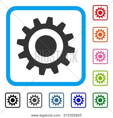 Cogwheel icon. Flat grey iconic symbol inside a light blue rounded squared frame. Black, gray, green, blue, red, orange color additional versions of Cogwheel vector.
