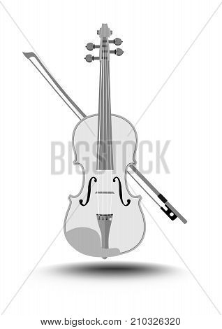 Violin with fiddlestick, gray drawing on white background, isolated music instrument, Vector EPS 10
