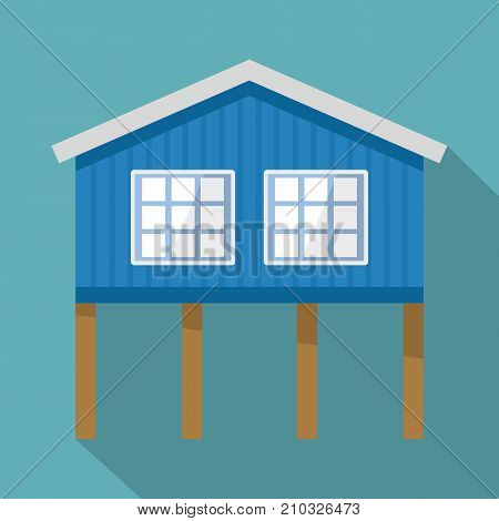 Stilt house icon. Flat illustration of stilt house vector icon for web