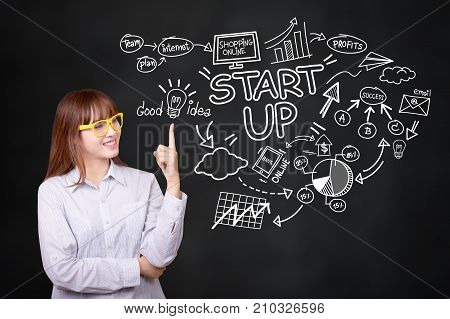 Business startup presentation strategy and people concept :Young Asian business woman with graphic creative idea for startup business sketch plan. Asian woman model in her 30s