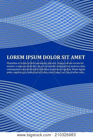 Background template in modern blue design with abstract wavy shapes, white line design, place for text, flyer, poster, leaflet, cover designs, vector EPS 10