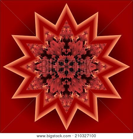 Red mandala for energy and vitality obtaining, circle symmetric patterns in star shape, 3d illusion in optical art style, for meditation and spiritual exercises, Vector EPS 10 poster