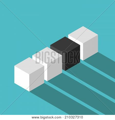 Isometric black unique cube in row of many white ones on turquoise blue. Uniqueness, individuality and loneliness concept. Flat design. EPS 8 vector illustration, no transparency, no gradients