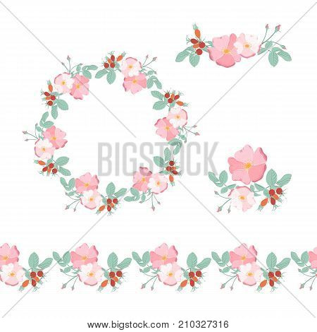Set of arrangements bouquet of wild rose with berries, frame, wreath and border, isolated on white background.