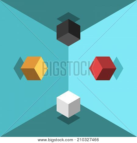 Isometric cubes soaring in turquoise blue room. Chaos and zero gravity concept. Flat design. Vector illustration, no transparency, no gradients